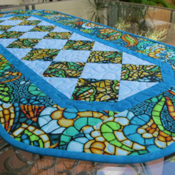 Table Runner Quilted Art Glass Turquoise 611
