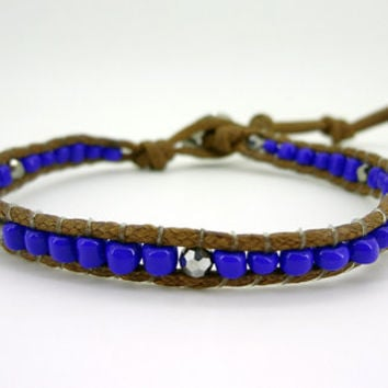 1 Wrap  Blue Ceramic beads  Simulated Leather Wrap Bracelet