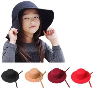 Bowknot Cap Bowler Hat Girls Felt Cap Vintage Fedora Fashion Kids Wide Brim Soft Wool Hat Lovely Style