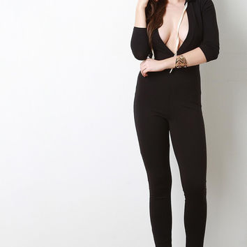 Hooded Plunging Neckline Jumpsuit