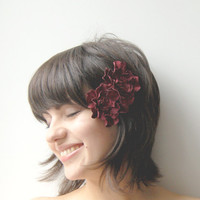 Two claret leather flower hair clips by ModaMakovera on Etsy