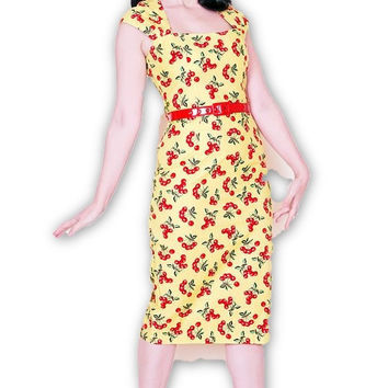 Chloe Wiggle Dress Yellow & Red Cherries (Just a Few Left)