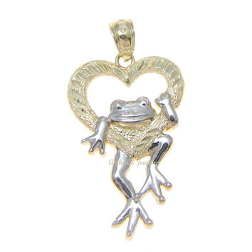 SOLID 14K YELLOW GOLD HEART WHITE GOLD HAWAIIAN LUCKY HAPPY FROG PENDANT 17.85MM