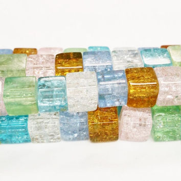 44 Crackle Glass Beads 8mm, Square Beads 8mm, Transparent Cube Beads, Multicolor Beads, Clear Crackle Beads