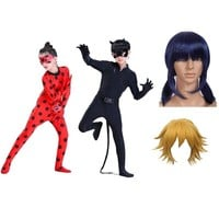 cat noir lady bug miraculous ladybug anime cosplay costume with wig girl adult cosplay clothes halloween costumes for kids girls