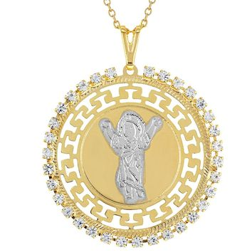 """18k Gold Plated Divine Child Necklace Pendant Medal Religious Catholic 19"""""""