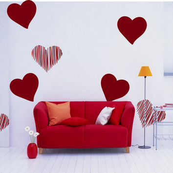 Wall Decal Vinyl Sticker Art Decor heart love kiss tenderness feels inspired bedroom lovers Valentine's Day set of 16 pieces (i97)
