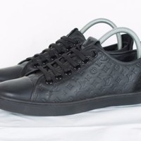 RARE WOMENS LOUIS VUITTON BLACK LEATHER MONOGRAM SUEDE SNEAKER SHOES SIZE 38.5