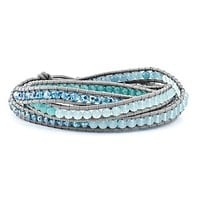 Crystal And Genuine Blue Quartz Beaded Leather Multi-Wrap Bead Bracelet