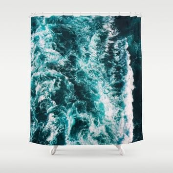 Deep Blue Waters Shower Curtain by Gallery One