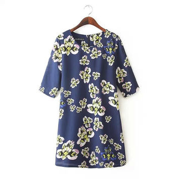 Summer Floral Print Plus Size Skirt One Piece Dress [4917884164]