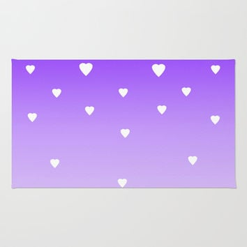 Purple Ombre with White Hearts Area & Throw Rug by decampstudios