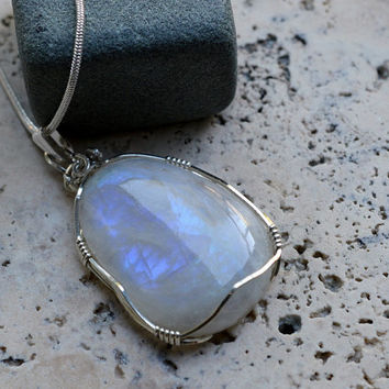 Rainbow Moonstone free form pendant sterling silver wire wrapped  with a stamped sterling silver plated snake chain necklace