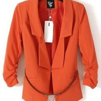 Women 2012 New Style Pleated Long Sleeve Orange Sweet Blends Shrug Suit S/M/L/XL@II0163o $24.88 only in eFexcity.com.