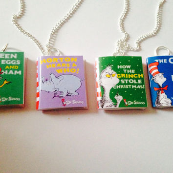 Dr Seuss book necklace