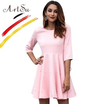 ArtSu 2018 Autumn Pearl Beading Pink Party Dresses Christmas For Women Half Sleeve A-Line Elegant Mini Zipper Pleated Tunic Robe