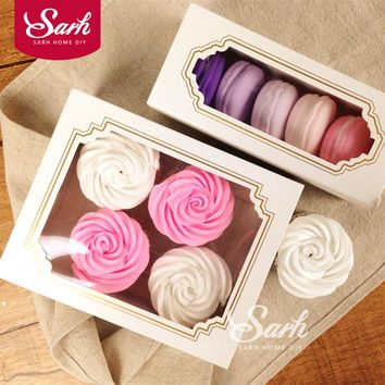 10pcs/lot Lovely Simple White Open-Window Dessert Macarons Box Cake Box Chocolate Muffin Biscuits Box for Cookie Package DGH459
