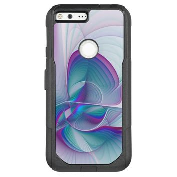 Colorful Modern Pink Blue Turquoise Fractal Art OtterBox Commuter Google Pixel XL Case