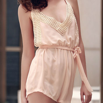 Shallow Pink Spaghetti Strap Sleeveless Backless Self Tie Romper
