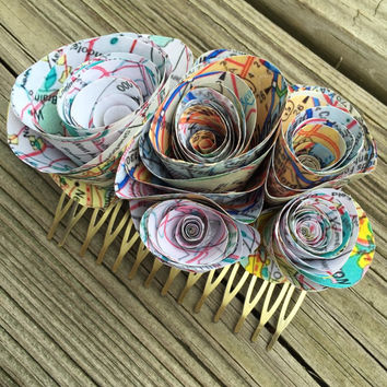 Map Wedding Hair Comb - Map Wedding Hair Clip - Paper Map Hair Comb - Wedding Hair Comb