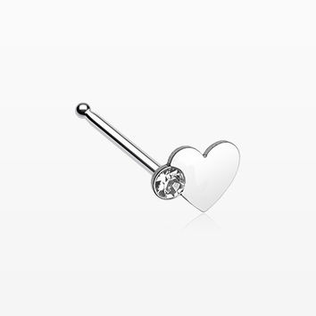 Adorable Heart Sparkle Nose Stud Ring