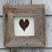 Red Maroon Heart Leaf in Handmade Reclaimed Barnboard Wood and Upcycled Glass Frame