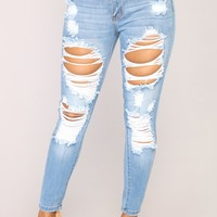 Give Good Love Skinny Jeans - Light Blue Wash