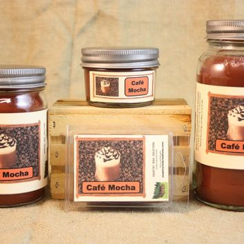 Cafe Mocha Coffee Candle, Scented Candles and Wax Melts, Highly Scented Beverage Candles and Wax Tarts, Coffee Lover Gift, Gift for Mom