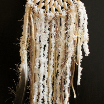 Beachy Boho Mermaid Dreamcatcher with Cowrie Shells made with Repurposed Materials.