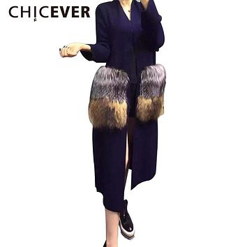 [CHICEVER] 2017 winter attachable big fur pockets long cardigan nitted fashion windbreaker trench coat for women new