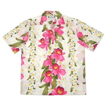 orchid play white hawaiian rayon shirt