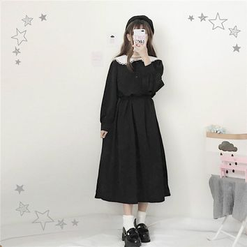 Japanese Harajuku Women Black Maxi Long Dress Peter Pan Collar Vintage Lolita Style Vestidos Longo Full Sleeve Cute Kawaii Dress