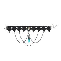 Blackheart Teal Crystal Black Chain Lace Choker