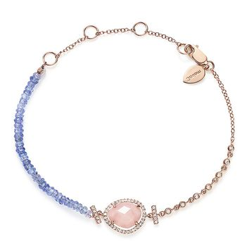 Meira T14K Rose Gold Tanzanite Bead, Diamond and Pink Opal Bracelet