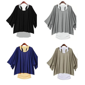 Fashion Loose Casual Bat-sleeved T shirt with Vest,4 Colors = 1946844036