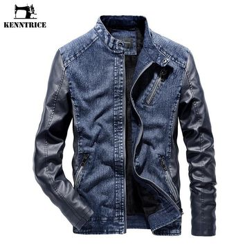 Trendy KENNTRICE Men Patchwork Denim Jacket With Leather Sleeve Coat Warm Windproof Vintage High Quality Men's Jean Jacket AT_94_13