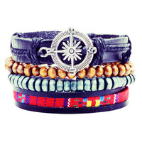 1Set 4pcs ~Braided Adjustable Leather Bracelets ~
