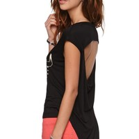 Lira Ranger Open Back T-Shirt - Womens Tee - Black -