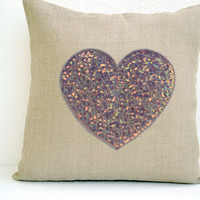 Off-White Burlap heart pillow cover with platinum heart made with sequins- Decorative cushion cover - Throw pillow 16X16