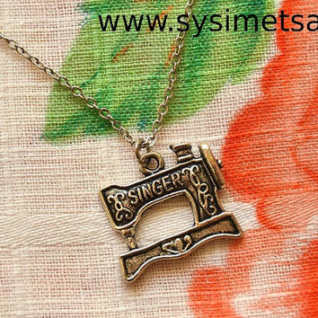 Singer Sewing Machine Antique Silver Necklace - Nickel Free