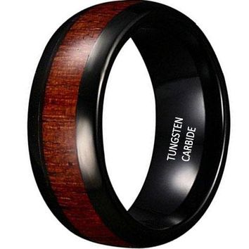 CERTIFIED 8mm Black Tungsten Carbide Vintage Mens Wedding Jewelry Ring KOA Wood Engagement Promise Band for Him
