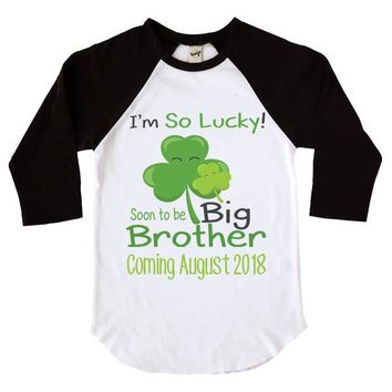 I'm So Lucky Soon To Be Big Brother Kids Raglan Shirt