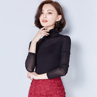 2016 new fashion long-sleeved lace shirt elegant bottoming Slim embroidered gauze mesh stitching women blouse shirt