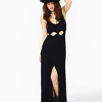Black Mesh Waisted Maxi Dress with Cutout