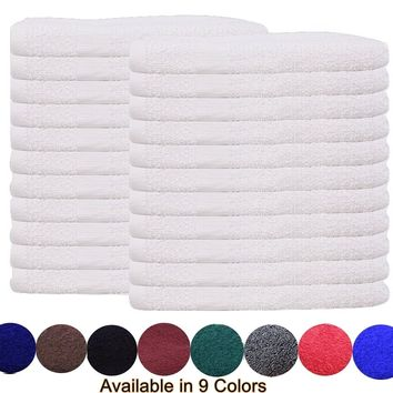 Cotton Salon Towels (12-Pack, White,16x27 inches) - Soft Absorbant Quick Dry Gym-Salon-Spa Hand Towel