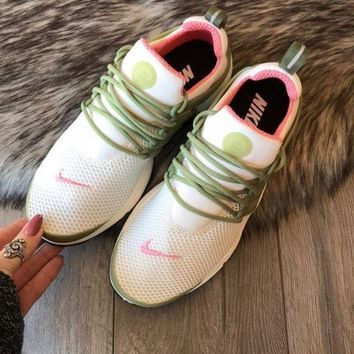 Nike Air Presto Fashion Woman Men Personality Running Sneakers Sport Shoes White Green(Pink Hook) I