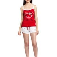 Hello Kitty Women`s Hk Shimmer And Shine Pajama Tank Top And Shorts Set $14.90