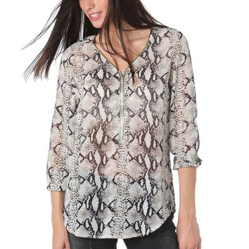 Q2 Black Animal Print Blouse With Zip Trim To Front