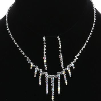 Aurora Rhinestone  Choker Fringe Wedding Formal Necklace Earring Set