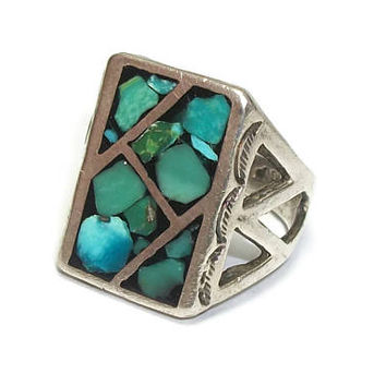 Sterling Silver Turquoise Ring Signed JP Jane Yikaazba Popovitch Navajo Artist Artisan Native American Unisex Mens Womens Size 8 3/4 to 9